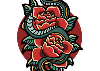 snake and roses
