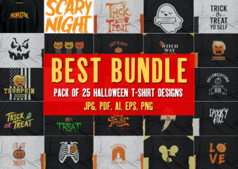 Halloween T shirt Pack of 25 designs ready to print | Commercial use