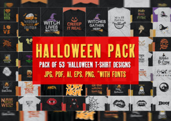 Halloween T shirt Pack of 53 designs | Halloween theme | October | ready to print | Commercial use | Best offer