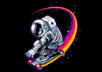 Astronaut with skateboard