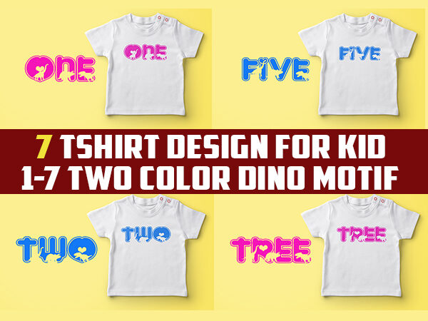 birthday tshirt designs for kids with dino jpeg, png and psd file editable text and layers