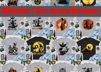 16 Bundles T Shirt designs Halloween Svg, witch halloween vector, Pumpkin horror vector, Pumpkin Svg, Pumpkins halloween vector, halloween svg, day of the dead vector, happy halloween cut file, happy halloween vector digital download file. silhouette halloween clipart, happy halloween 2020, shadow of death vector, horror spider logo, bat horror svg