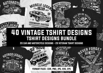 40 Vintage Tshirt Designs Bundle