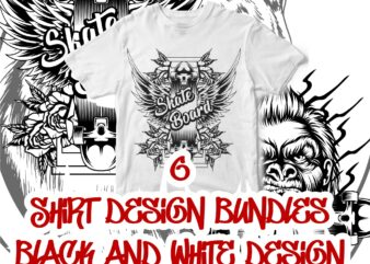 6 shirt design bundles black and white version