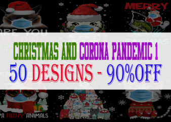 Christmas and Corona Pandemic Bundle Part 1 – 50 Designs – 90% OFF