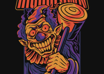 High Clown Halloween Theme T-Shirt Design