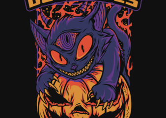 Devil Eyes Halloween Theme T-Shirt Design