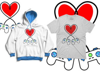 Controllers and heart connected | Gamers | Gaming love tshirt artwork for sale
