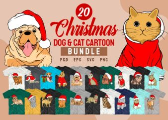 Christmas dog and cat t shirt designs cartoon bundle svg. Christmas bundle t-shirt design. Cartoon bundles svg png psd. Christmas T shirt design vector