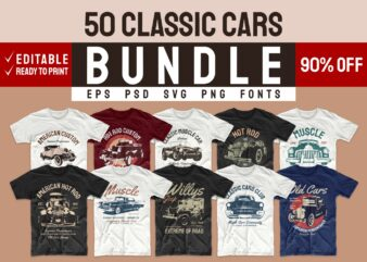 Car t shirt design bundle. Editable t-shirt designs bundle. Classic cars t-shirt design. Vintage t shirt design bundle. Retro t shirt designs bundle. Car logo design. Set of car t shirts designs. T shirt design bundle. Hot rod t shirt design. Silhouette tee shirt. T shirt design svg png psd