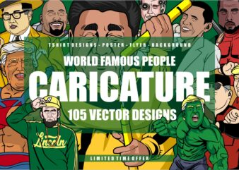 105 Caricature Tshirt Designs Bundle
