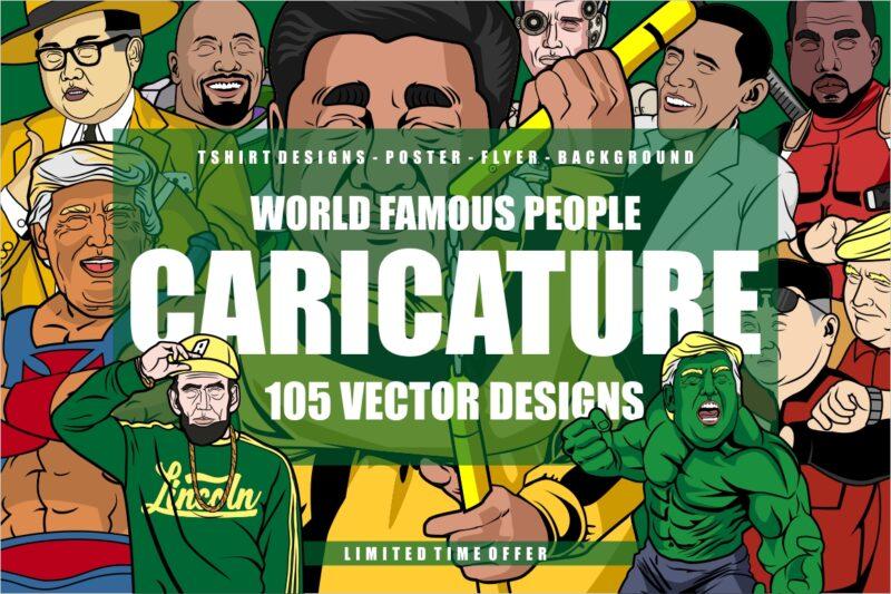 105 Caricature Tshirt Designs Bundle