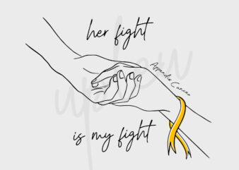 Line Art Her Fight Is My Fight For Appendix Cancer SVG, Appendix Awareness SVG, Amber Ribbon SVG, Fight Cancer Svg, Awareness Tshirt svg