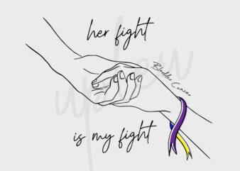 Line Art Her Fight Is My Fight For Bladder Cancer SVG, Bladder Cancer Awareness SVG, Marigold, Blue and Purple Ribbon SVG, Fight Cancer Svg
