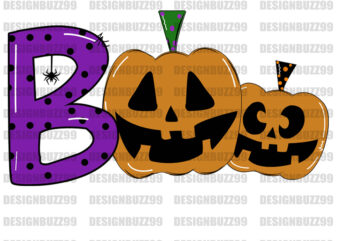Boo Pumpkin Halloween Sublimation,Boo SVG Cut File, commercial use, instant download , printable vector clip art , Halloween shirt print , Halloween SVG , Spooky Quote