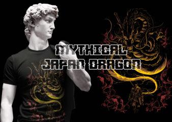 MYTHICAL JAPAN DRAGON SAMURAI T-SHIRT DESIGN