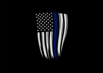 us police flag – blue line – blue line american flag t shirt design sale