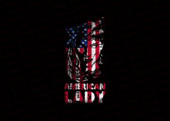 American Flag Wolf Lady T-Shirt Design