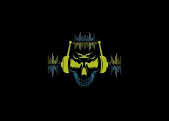 King DJ Skull t shirt design download template