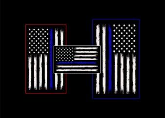Thin blue line american flag t shirt