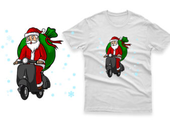 santa claus riding a vespa scooter hand drawn 100% vector ai, eps, svg, png transparent background