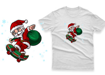 santa claus riding a skateboard hand drawn 100% vector ai, eps, svg, png transparent background