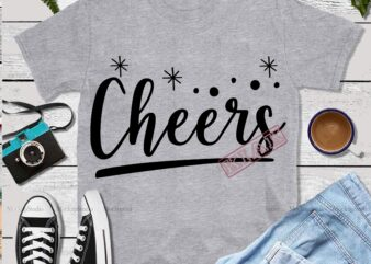 Christmas Cheers, Cheers Svg, Cheers vector, Cheers logo, Cheers typography t shirt design template
