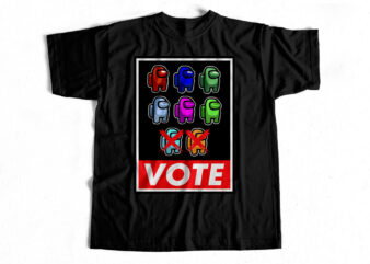 VOTE – Among Us – T-shirt design – FREE Hoodie Mockup