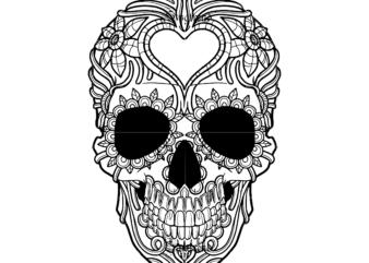 Skull with flower vector, Sugar Skull Svg, Skull Svg, Skull vector, Sugar skull art vector, Skull with flower Svg, Skull Tattoos Svg, Halloween, Day of the dead Svg, Calavera Svg, Mandala Skull, Mexican Skull vector.