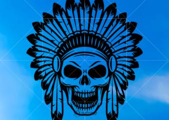 Indian Skull Svg, Native American Warrior Svg, Headdress Feather Svg, Sugar Skull Svg, Skull Svg, Skull vector, Sugar skull art vector, Skull with flower Svg, Skull Tattoos Svg, Halloween, Day of the dead Svg, Calavera Svg, Mandala Skull, Mexican Skull vector.