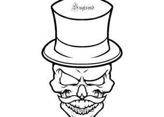 Gentleman skull Svg, Skull with flower vector, Sugar Skull Svg, Skull Svg, Skull vector, Sugar skull art vector, Skull with flower Svg, Skull Tattoos Svg, Halloween, Day of the dead Svg, Calavera Svg, Mandala Skull, Mexican Skull vector.