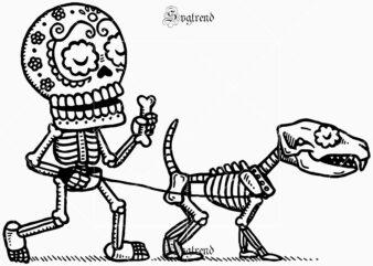 Halloween of death, devil vector illustration, dead man's skeleton illustration Svg, Human skeleton walking dog skeleton in the day of the dead Svg, Human skeleton dog skeleton walking on halloween festival day Svg, dog walkers calavera Svg, dog walker vector, Dog vector, Dog logo, dog Svg