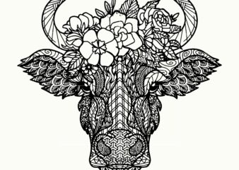 Cow Skull logo, Cow Skull Svg, Cow Skull vector, Cow skull with flowers Svg, cow skull Mandala Svg, Skulls are used to dress up during Halloween Svg, Halloween death Svg, Cow Skull with Aztec Pattern Farmhouse Svg, Tattoos Cow skull with flowers mandala vector