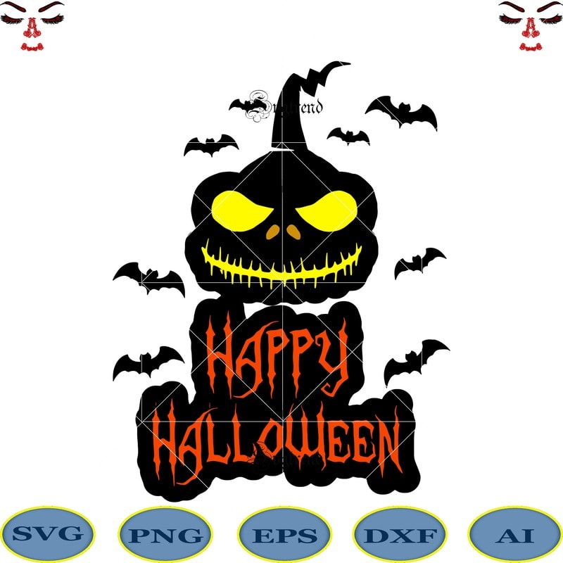 Happy Halloween Svg Day Of The Dead Logo Happy Halloween Cut File Happy Halloween Vector Digital Download File Silhouette Halloween Clipart Happy Halloween 2020 Halloween Vector Shadow Of Death Vector Skulls Are