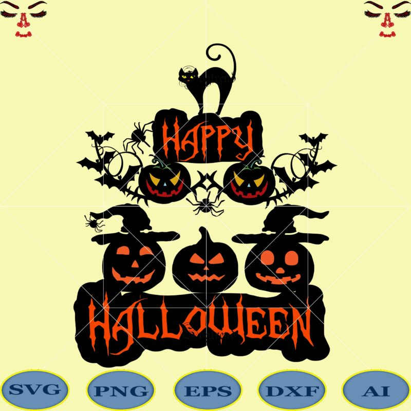 Halloween Happy Halloween Svg Day Of The Dead Vector Happy Halloween Cut File Happy Halloween Vector