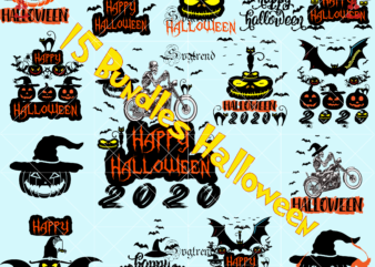 15 bundles t shirt designs halloween, Happy Halloween Svg, Day of the dead vector, Happy Halloween Cut File, Happy Halloween vector digital download file. Silhouette Halloween clipart, Happy Halloween 2020 vector, Shadow of death vector