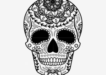 Sugar Skull Svg, Skull Svg, Skull vector, Sugar skull art vector, Skull with flower Svg, Skull Tattoos Svg, Halloween, Day of the dead Svg, Calavera Svg, Mandala Skull, Mexican Skull vector.