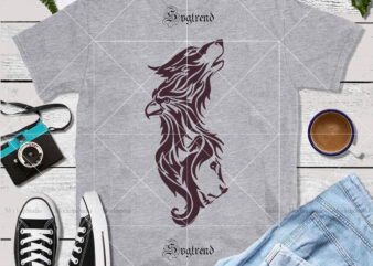 Eagle tattoo with wolf and lion combination vector, Combination of eagle lion and wolf Svg, Eagle tattoo with wolf and lion combination Svg, Wolf tattoo artist Svg, Eagle tattoo artist Svg, Lion tattoo artist Svg, Lion logo, Wolf logo, Eagle vector