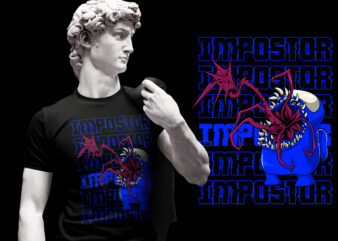 IMPOSTOR AMONG US RED AND BLUE TSHIRT DESIGN