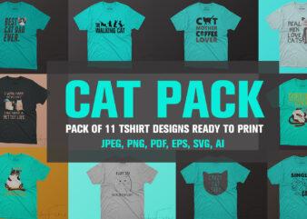 Pack of 10 Cat Tshirt Design