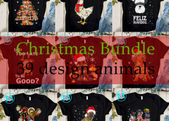 Christmas Bundle Animals PNG, Chicken PNG, Merry Christmas PNG, Dogs PNG, Dinosaur PNG, Cats PNG, Shih Tzu PNG, Digital Download