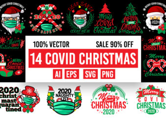 14 Covid Christmas design 100% vector ai, eps, svg, png transparent