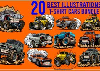 20 best illustrations tshirt cars bundle