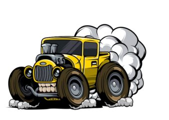 Classic Hotrod with Hexhaust Fumes T-Shirt Design