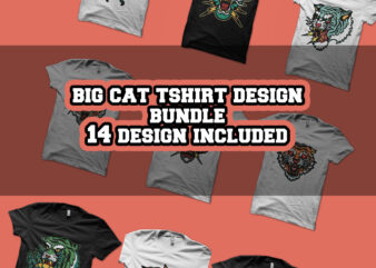 big cat tattoo tshirt design bundle