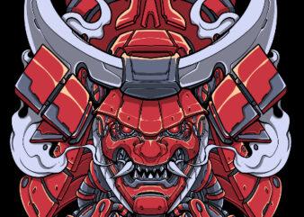 samurai mecha war tshirt design