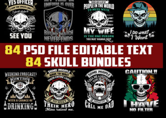 84 SKULLtshirt designs bundles jpg png Transparent and PSD File editable text layers