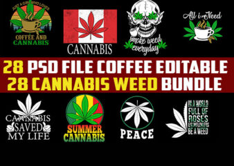 28 WEED Cannabis bundle tshirt design png Transparent and PSD File editable