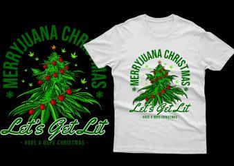 Editable Merryjuana Christmas 100% Vector