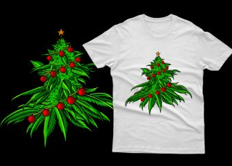 Weed Christmas Tree cannabis marijuana 100% Vector